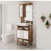 Conjunto de Banheiro com 3 Portas e Prateleira Móvel Ozini Castanho e Branco