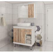 Conjunto de Banheiro Com 3 Portas Gaveta e Prateleiras Ozini Carvalho Cartagena e Branco