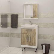 Conjunto de Banheiro com 3 Portas Ozini Carvalho Cartagena e Branco