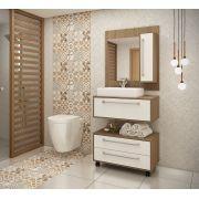 Conjunto de Banheiro Completo com 2 Nichos, Gavetões e Espelheira Ozini Argel e Branco