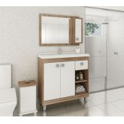 Conjunto de Banheiro Completo com 3 Portas e 1 Gaveta Ozini Argel e Branco