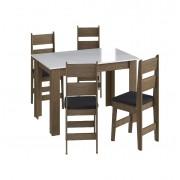Conjunto de Mesa com 4 Cadeiras Milano e 1 Buffet 11200 Ameixa Negra, Branco e Preto