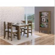Conjunto de Mesa com 4 Cadeiras Milano e 1 Buffet 11200 Ameixa Negra e Branco