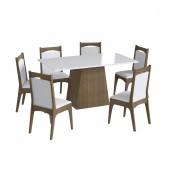 Conjunto de Mesa com Base e 6 Cadeiras Estofadas 11600 Ameixa Negra e Branco
