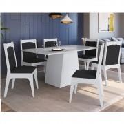 Conjunto de Mesa com Base e 6 Cadeiras Estofadas 11600 Branco e Preto
