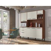 Cozinha Compacta Ágata com 8 Portas 2906 Kit's Paraná Nogueira Branco