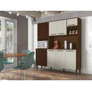 Cozinha Compacta Ágata com 8 Portas 2906 Kit's Paraná Nogueira Branco Ripado