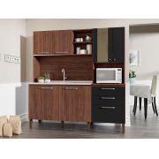 Cozinha Compacta Mega 2928 com 7 Portas Kit's Paraná Nogueira Black