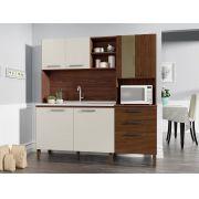 Cozinha Compacta Mega 2928 com 7 Portas Kit's Paraná Nogueira Off White Ripado