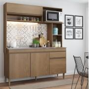 Cozinha Compacta Rebeca com 4 Portas 0321 Avelã Soluzione