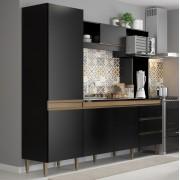 Cozinha Compacta Vitória com 5 Portas 0318 Preto com Avelã Soluzione