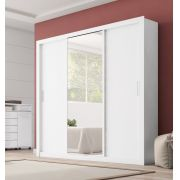 Guarda Roupa Casal com Espelho 3 Portas Residence Demóbile Amendola Off White