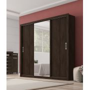 Guarda Roupa Casal com Espelho 3 Portas Residence Demóbile Ébano Touch