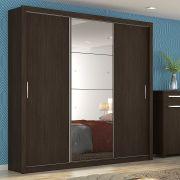 Guarda Roupa Casal com Espelho 3 Portas Residence II Demóbile Ebano Touch