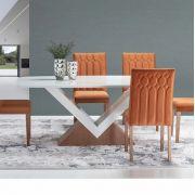 Mesa de Jantar de 6 Lugares Canto Redondo com Vidro Sara Imbuia Off White