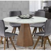 Mesa de Jantar de 6 Lugares Redonda e com Vidro Ayla Imbuia Off White