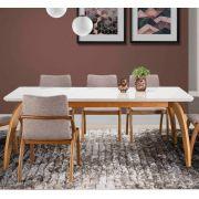 Mesa de Jantar para 6 Lugares Júlia Branco e Madeirado Morada Decor