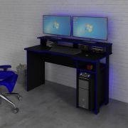 Mesa para Computador Desk Gamer ME4153 Preto e Azul