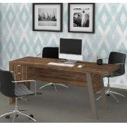 Mesa para Escritório com 2 Gavetas ME4122 Tecno Mobili Nogal e Fendi
