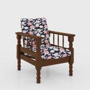 Poltrona Estofada de Madeira Maciça 1 Lugar Móveis Belini Tecido 315 Florido