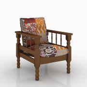 Poltrona Estofada de Madeira Maciça 1 Lugar Móveis Belini Tecido 413 Colorido