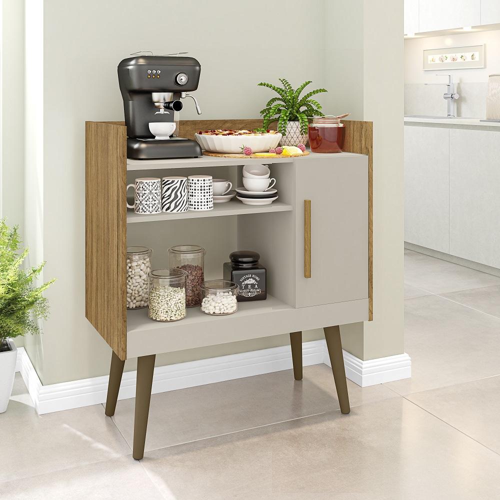 Aparador Café II com 1 Porta e Nichos Cinamomo e Off-White