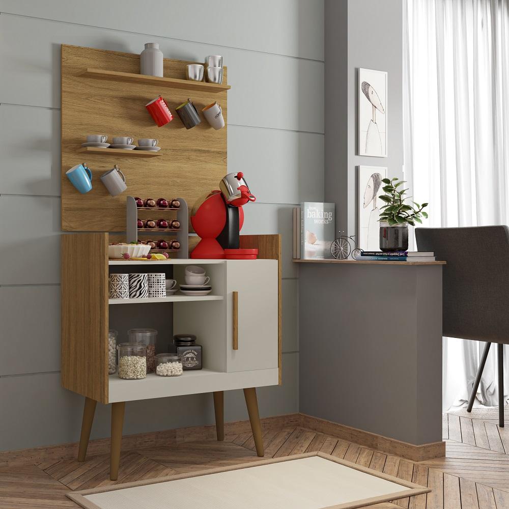 Aparador Cantinho do Café Plus com 1 Porta e Nichos Cinamomo e Off-White