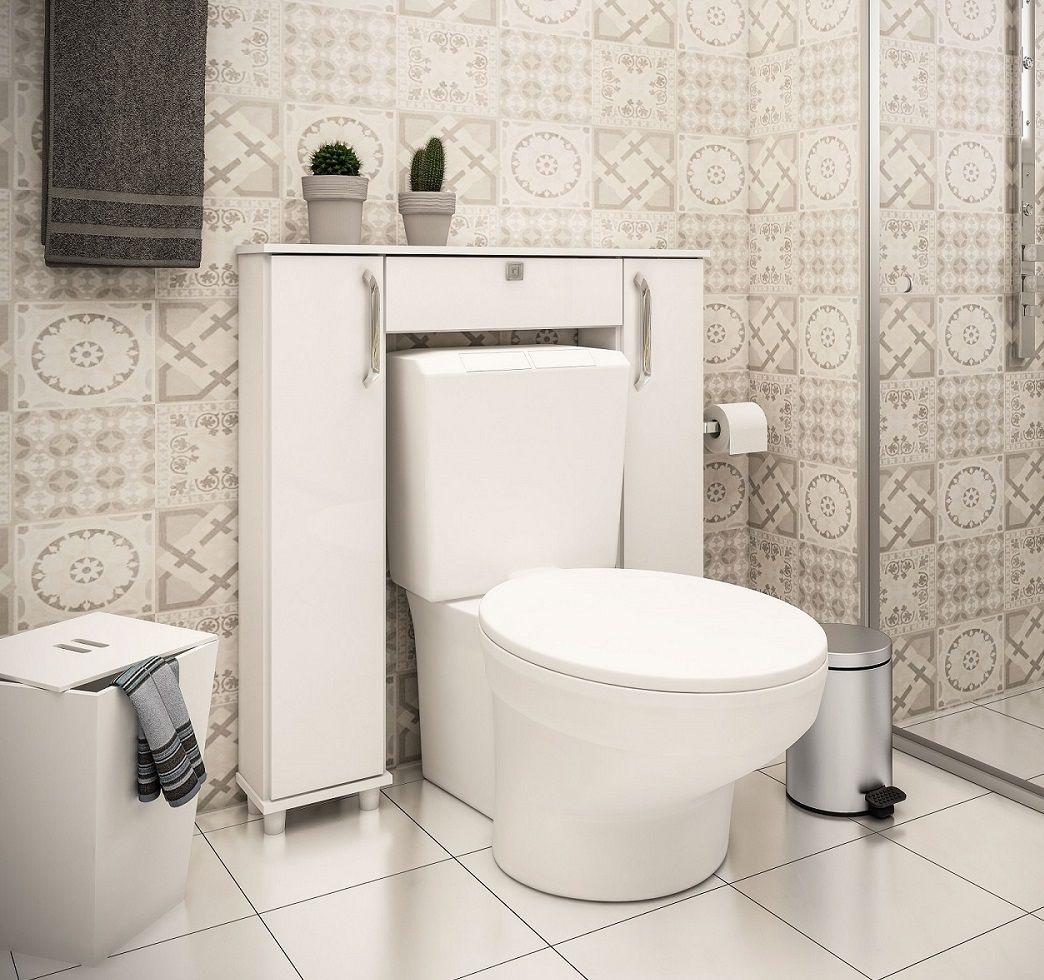 Armário Acoplado para Banheiro com 2 Portas Ozini Branco