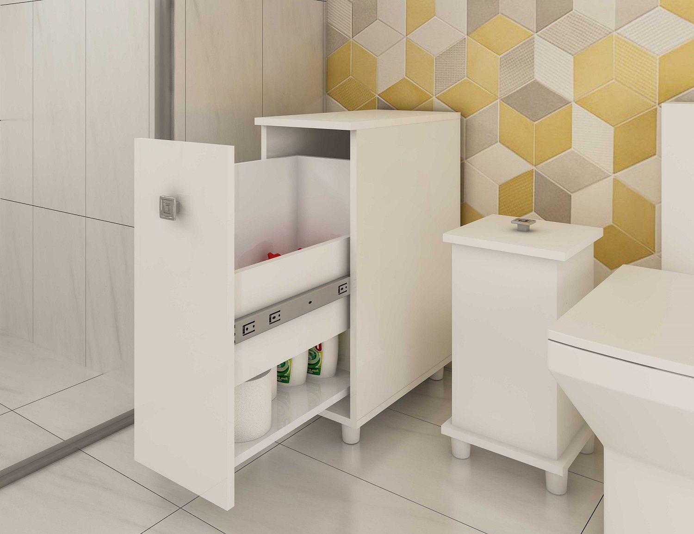 Armário para Banheiro com 1 Gaveta Multiuso Ozini Branco