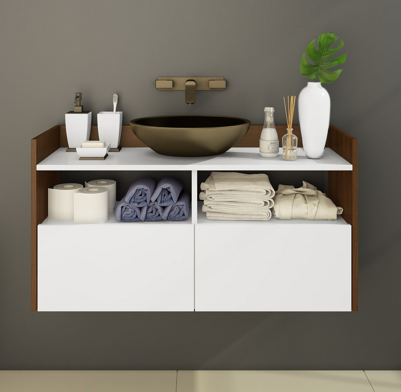 Armário para Banheiro com 2 Portas Solaris Branco e Madeira Estilare