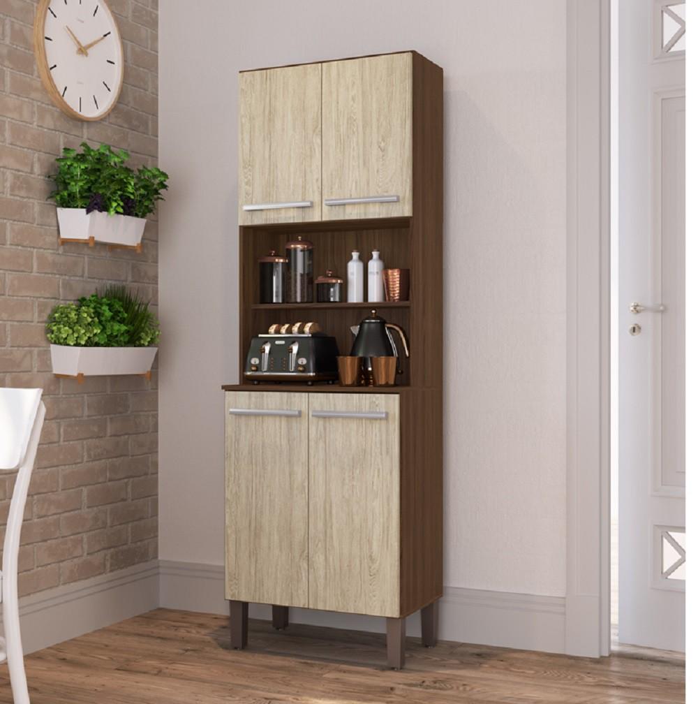 Armário para Cozinha com 4 Portas AC5400 Cacau e Malbec Decibal