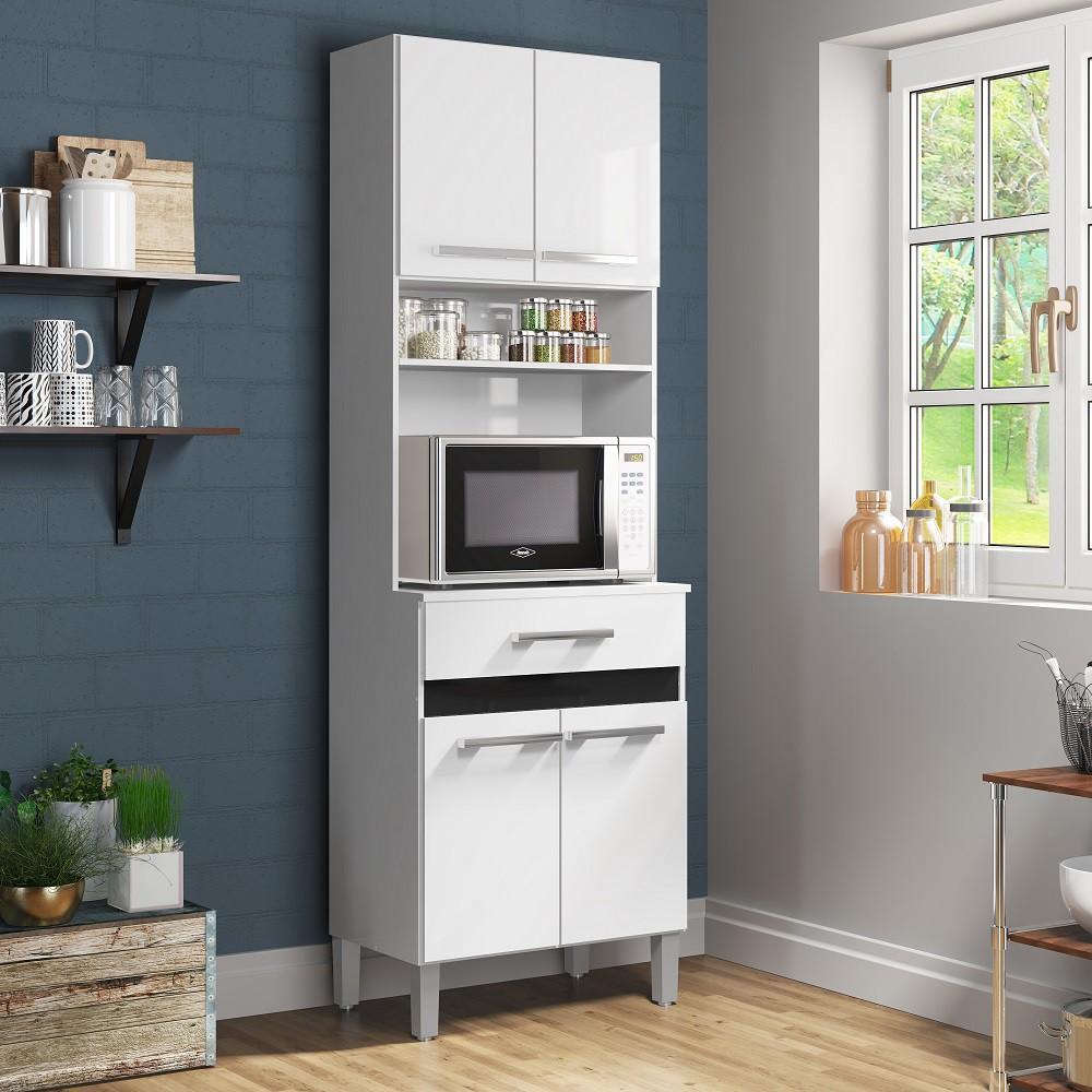 Armário para Cozinha com 4 Portas e 1 Gaveta AC410 Branco