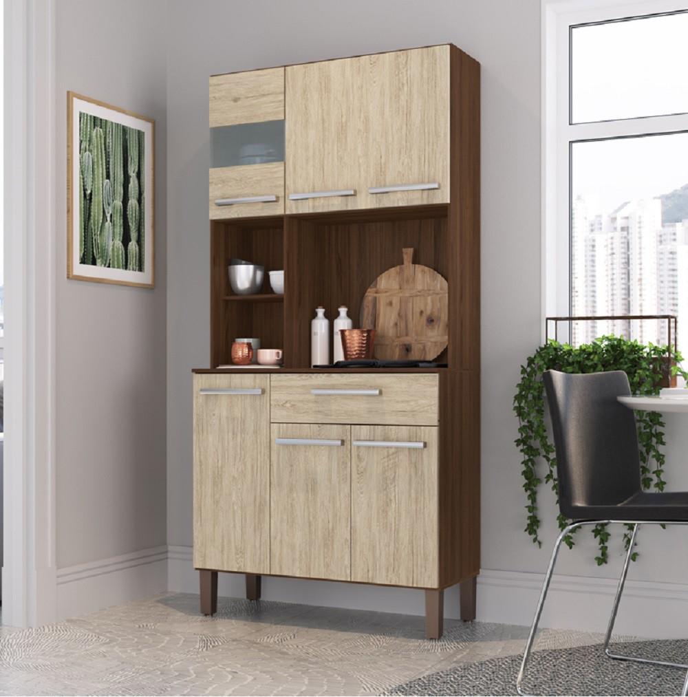 Armário para Cozinha com 6 Portas AC5610 Cacau e Malbec Decibal