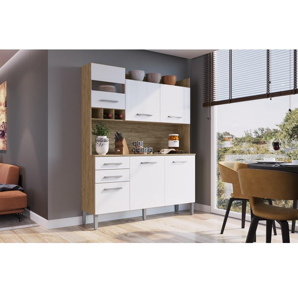 Armário para Cozinha com 6 Portas e 2 Gavetas AC6200 Wood com Branco Decibal