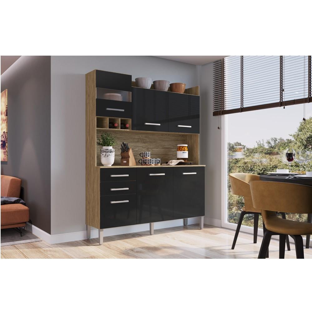 Armário para Cozinha com 6 Portas e 2 Gavetas AC6200 Wood com Preto Decibal