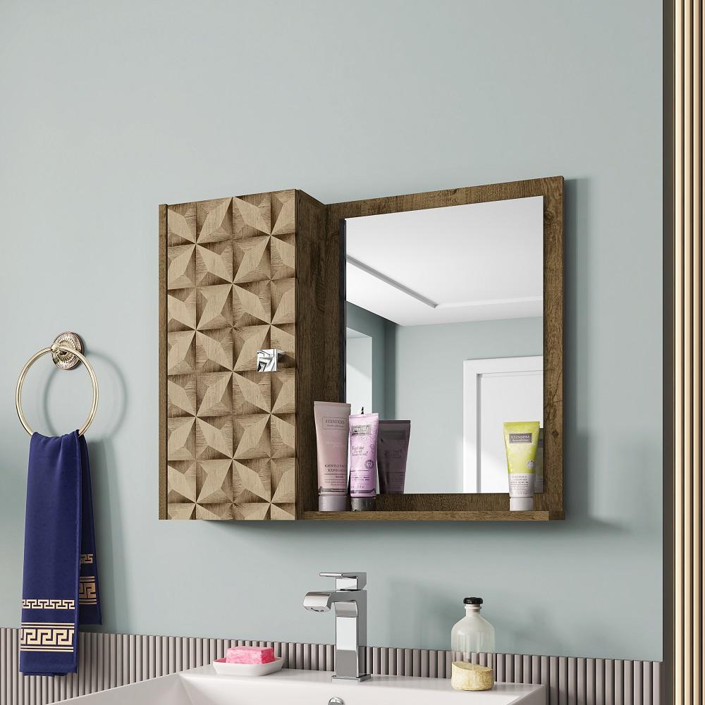 Armário Superior para Banheiro com Espelho Gênova Madeira Rústica e Madeira 3D