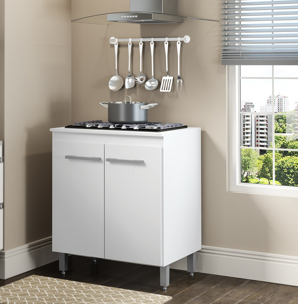 Balcão Cooktop com 2 Portas 0404 Branco Soluzione