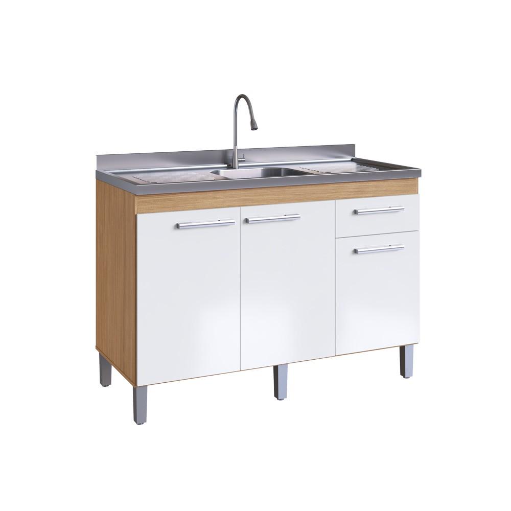 Balcão de Cozinha com 3 Portas e 1 Gaveta 8030 Naturalle com Branco Decibal