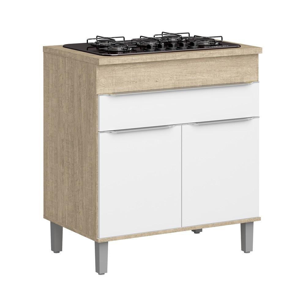 Balcão de Cozinha Cooktop com 2 Portas e 1 Gaveta Slim CS601 Acácia com Branco Decibal