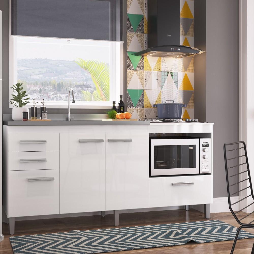 Balcão de Cozinha Multiuso com 3 Portas sem Inox BM02 Branco Decibal