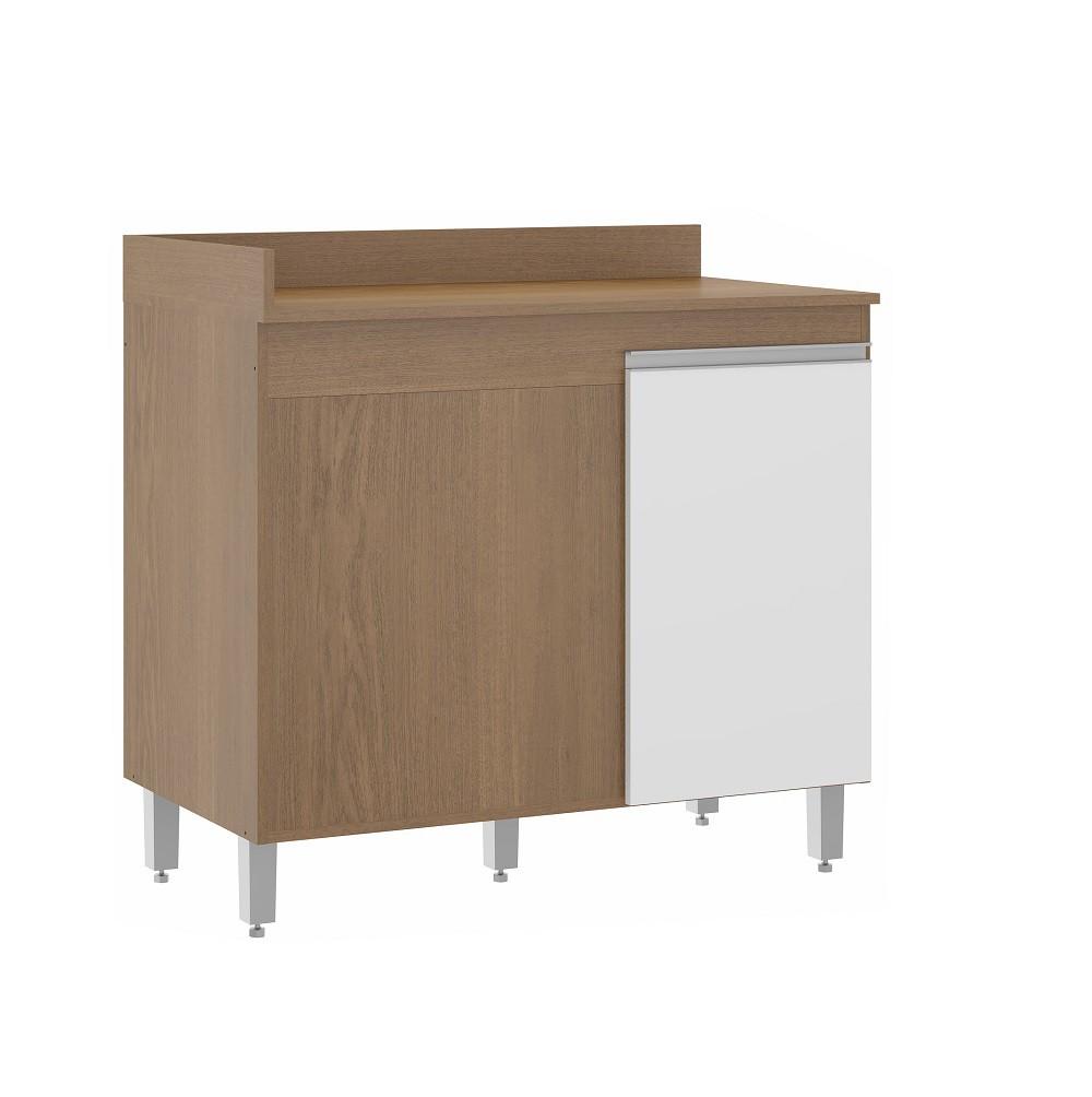 Balcão para Cozinha 0459 com 1 Porta Avelã e Branco Soluzione