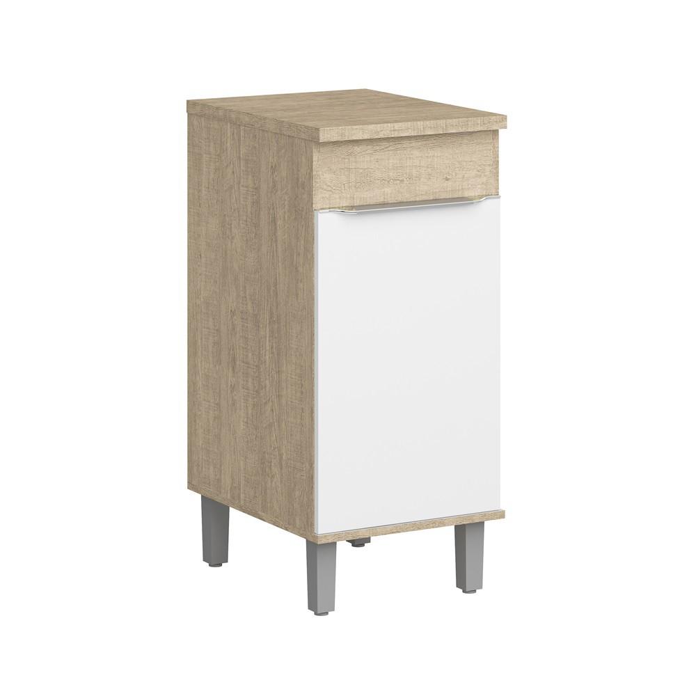 Balcão para Cozinha com 1 Porta e 1 Prateleira Slim CS602 Acácia com Branco Decibal