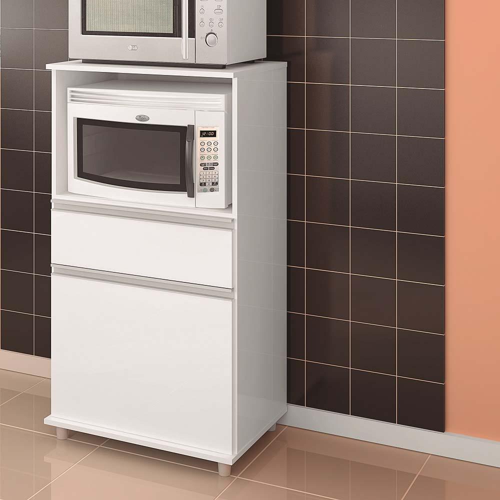 Balcão para Micro-ondas e Forno com 1 Gaveta e 1 Porta  ASM 142 Branco
