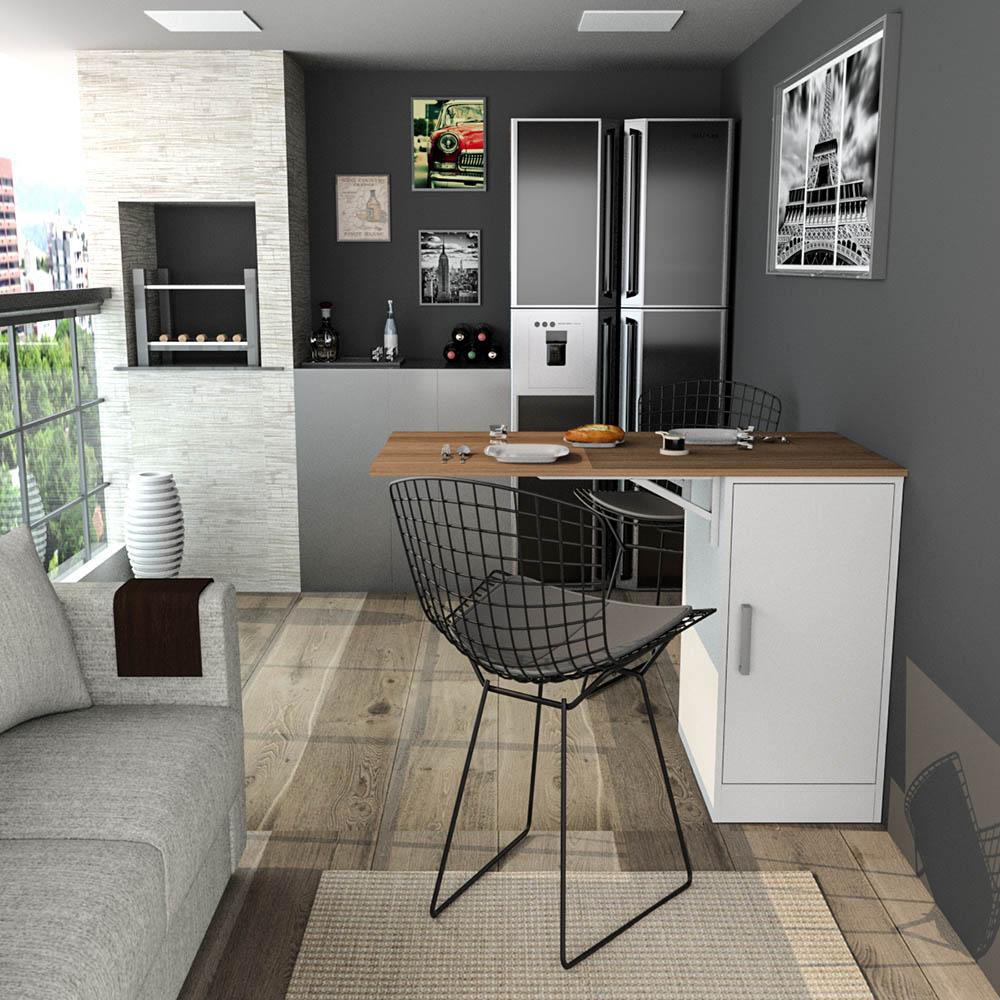 Bancada Gourmet para Cozinha Enjoy Appunto Castanho e Branco 3400-30-10