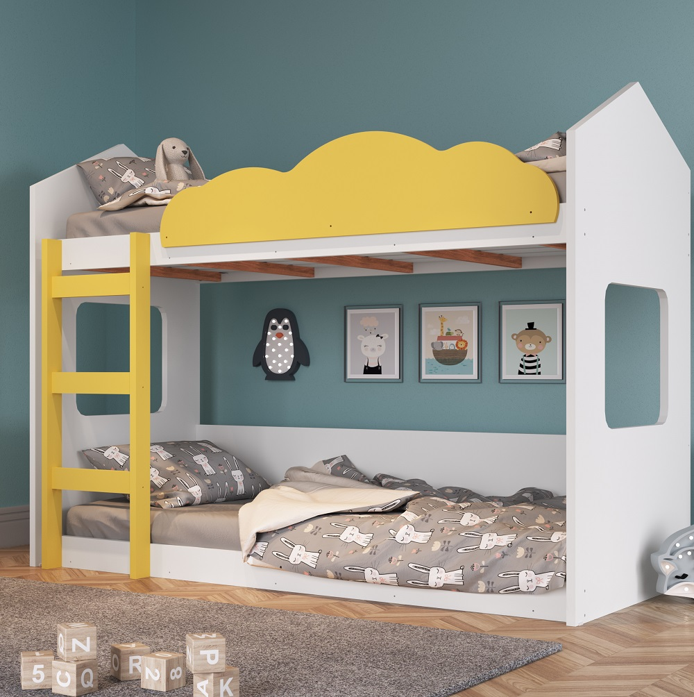 Beliche Montessoriano Casinha com Nuvem BY700 Branco e Amarelo