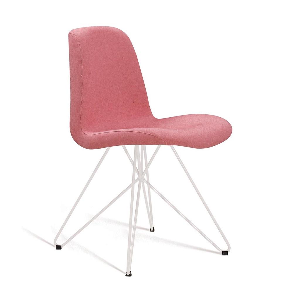 Cadeira Estofada Eames com Base em Aço Branco F89 Coral