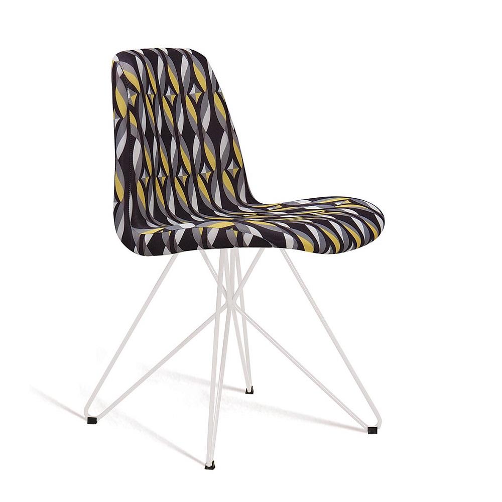 Cadeira Estofada Eames com Base em Aço Branco F89 Preto Colorido