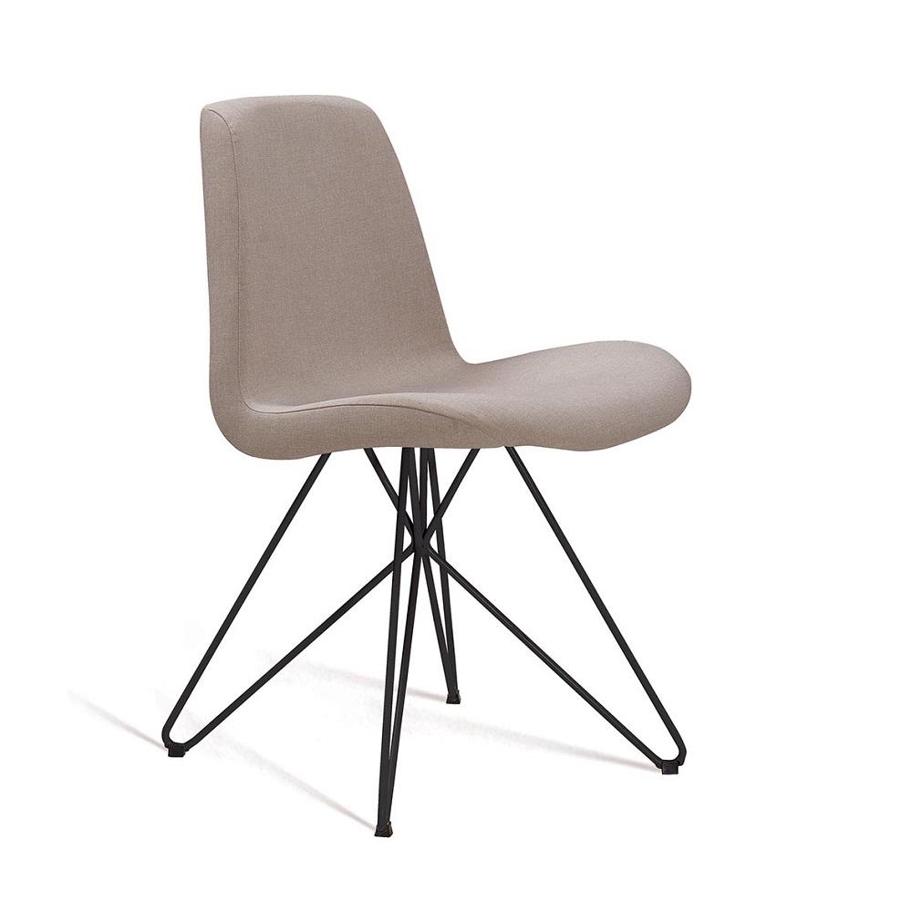 Cadeira Estofada Eames com Base em Aço Preto F89 Bege