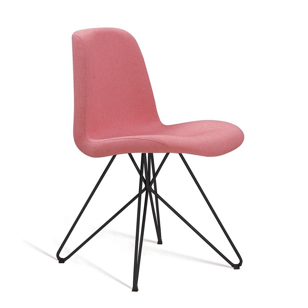 Cadeira Estofada Eames com Base em Aço Preto F89 Coral