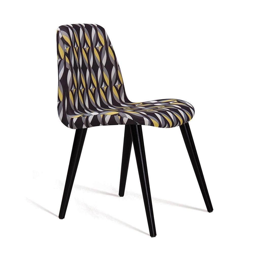 Cadeira Estofada Eames com Pés Palito F89 Preto Colorido